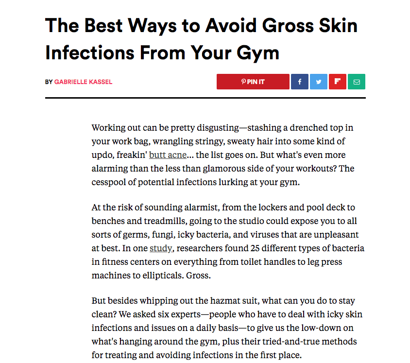 The Best Ways to Avoid Gross Skin Infections From Your Gym
