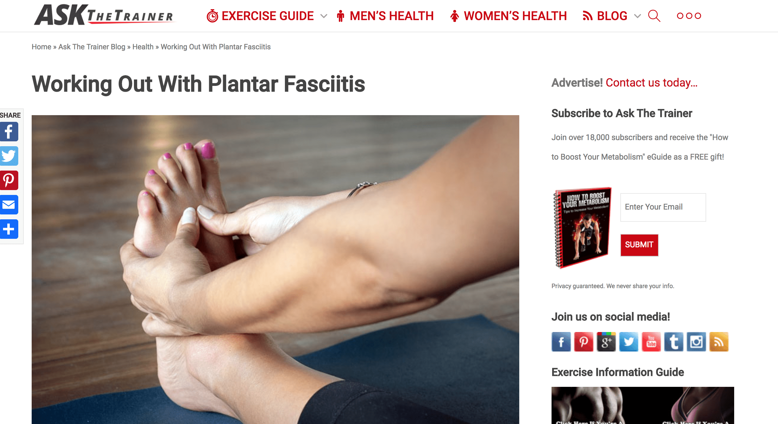WORKING OUT WITH PLANTAR FASCIITIS