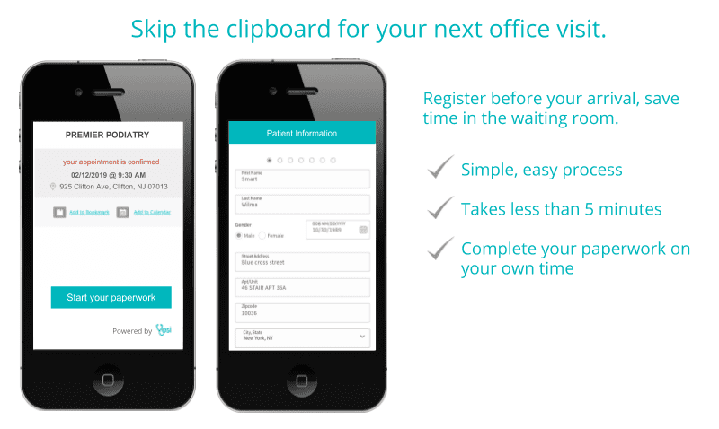 Register before your arrival, save time in the waiting room